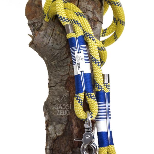 Gassizeug Leine aus Kletterseil in blau/gelb mit blau/weiß